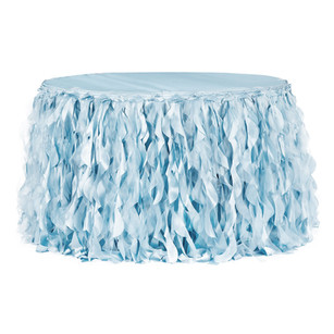 Curly Willow 14ft Table Skirt - Baby Blue