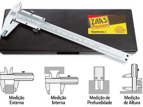 Paquímetro Analógico 300mm Zaas + Calibração RBC