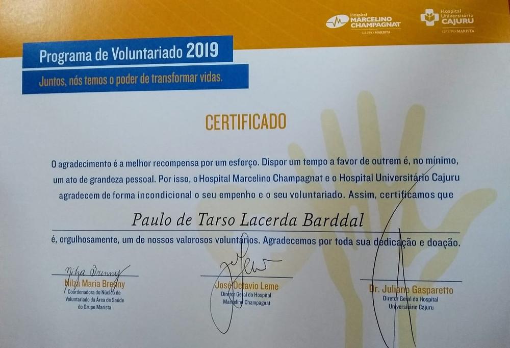 Certificado de voluntário de Paulo Barddal, Yoga do Riso