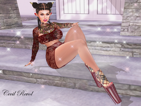 ♥ [Luxury] Mhaite Dress & -XTC PoSe-On the Stairs  at UNIK Event ♥Vezzo Ink Tattoo-Draco♥