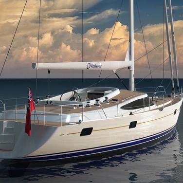 Kraken 58 ft Luxury Sailing Yahct distant render