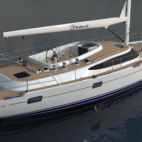 Kraken 58 Luxury Sailing Yacht External Render
