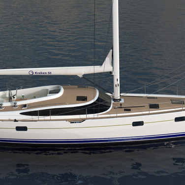 Elevated side view render of the Kraken 58 ft Luxury Sailing Yacht