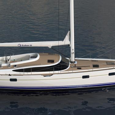 Elevated side view render of the Kraken 58 ft Luxury Sailing Yacht