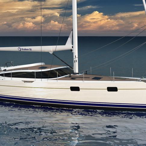 Resting view render of the Kraken 58 ft Luxury Sailing Yacht