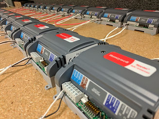 A connected array of Honeywell control units configured optimally by Lehigh Valley's trusted HVAC Contractors, Dual Temp