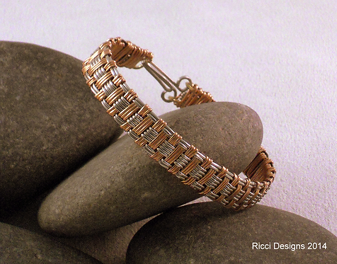 Basket Weave Bracelet, Yellow Brass & Nickel
