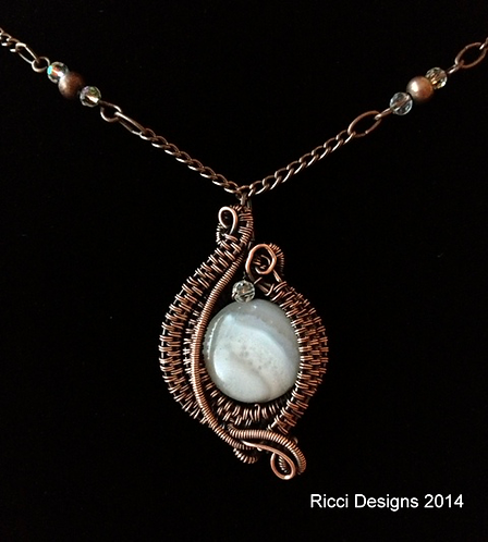 White & Gray Agate Woven in Copper Pendant
