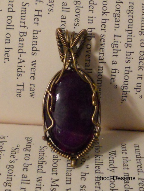 Purple Agate wrapped with yellow brass