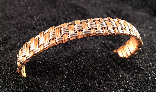 Basket weave bracelet with red brass and nickel si