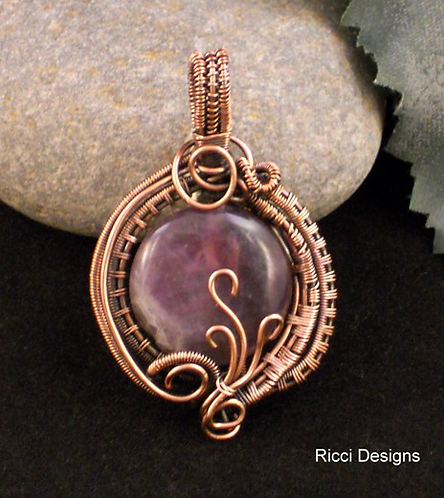 Amethyst Pendant Wrapped in Copper