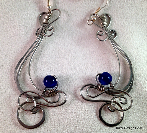 Swirls and Lapis Earrings