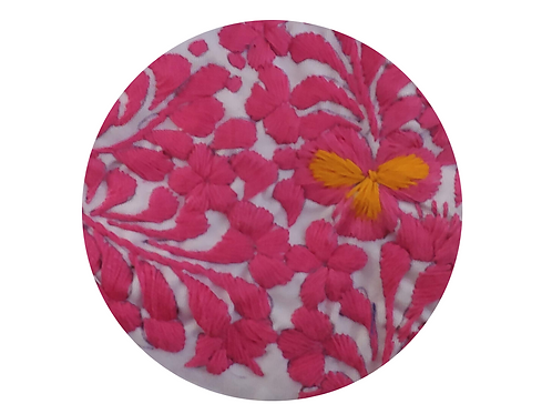 Embroidered Pink Flower on White