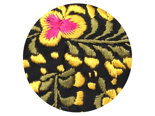 Embroidered Yellow Pink Flower on Black