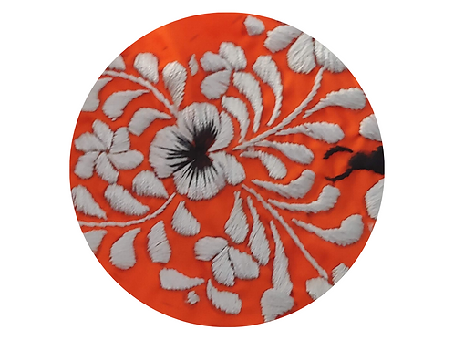 Embroidered Silver Flower on Orange