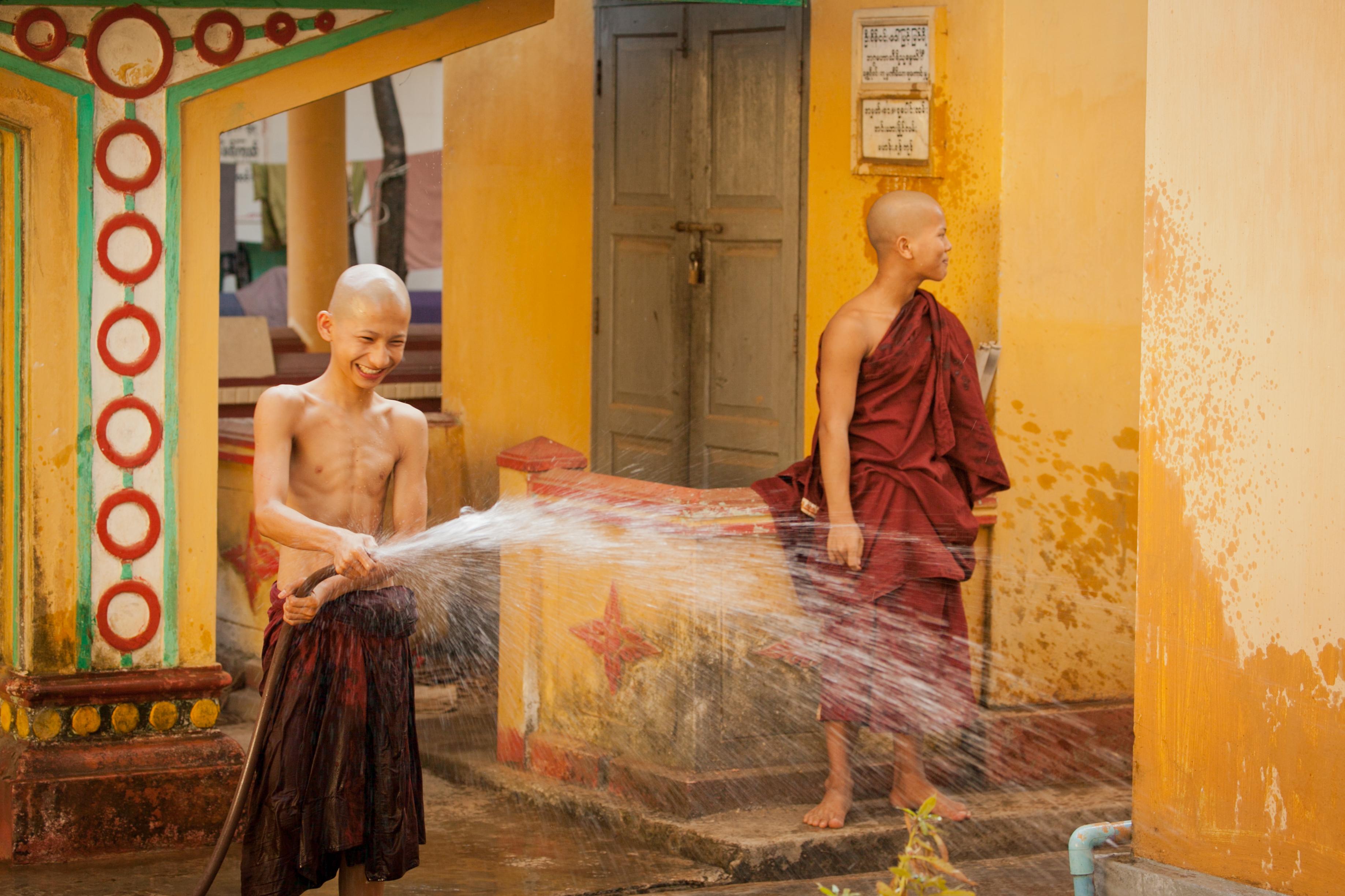 Buddhistic Kidmonks in Monastery, Bago, Myanmar