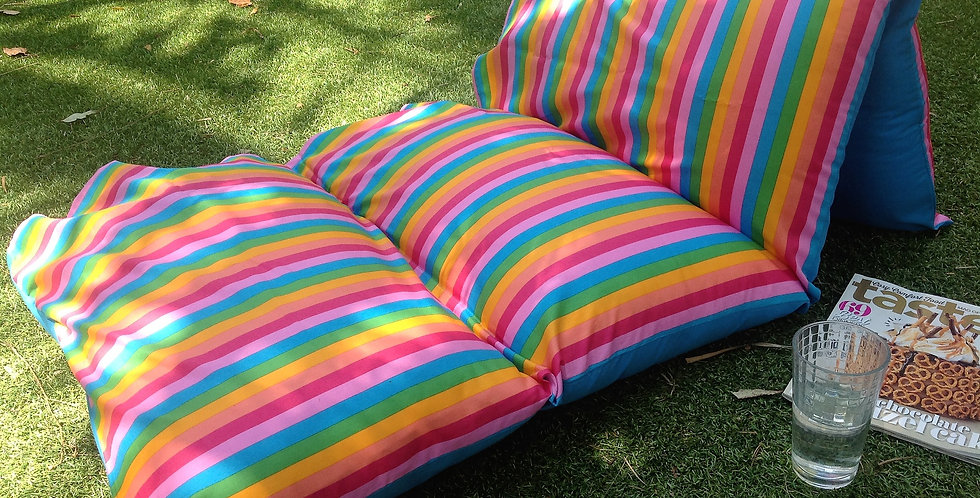 Rainbow Stripes with Aqua Backing