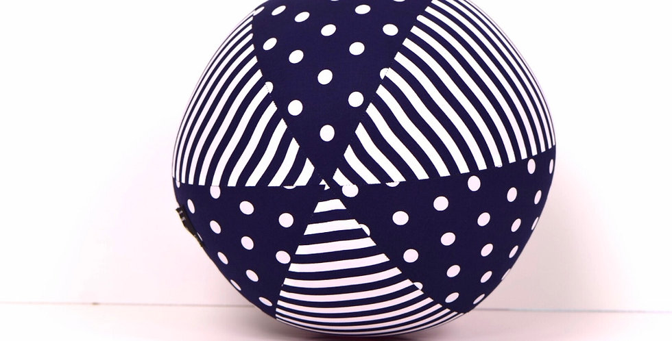 Balloon Ball - Navy White Dots Stripes