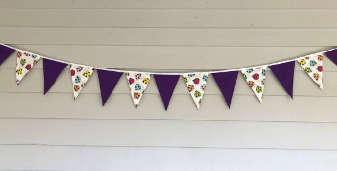 Bunting - Purple Panels with White Coloured Bugs
