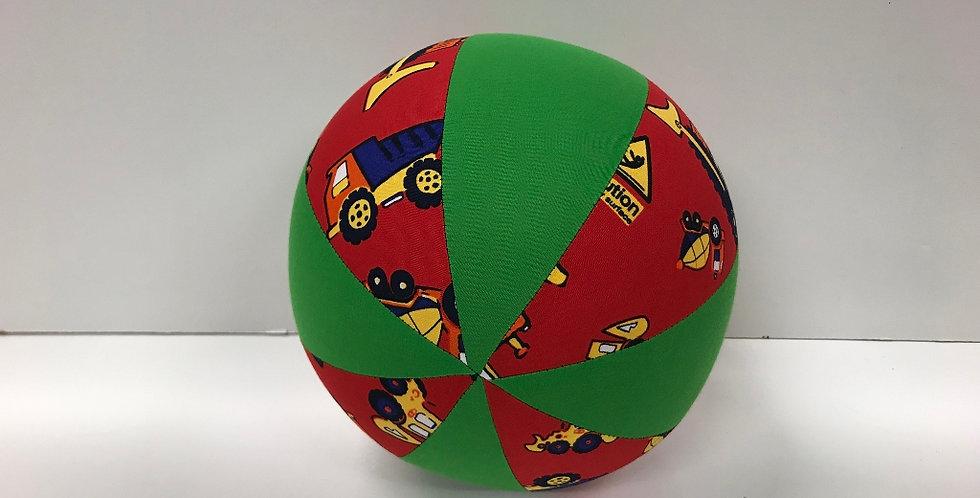 Balloon Ball Medium - Trucks on Red with Apple Green Panels