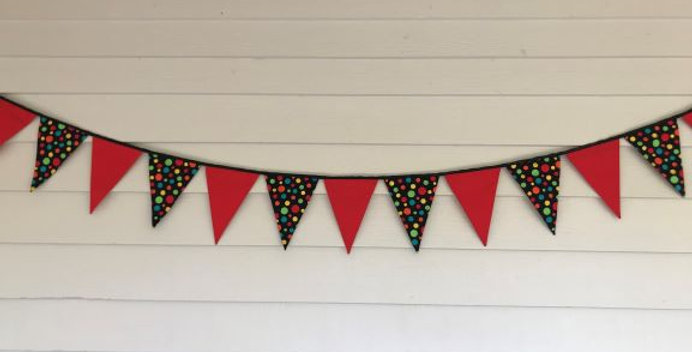 Bunting - Red with Black Multi Coloured Dots