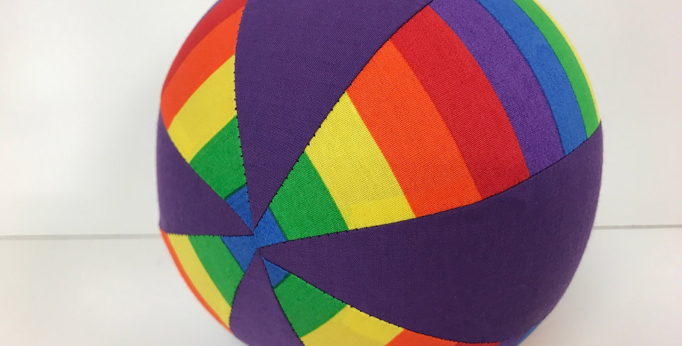 Balloon Ball Small - Bright Rainbow Stripes with Purple Panels