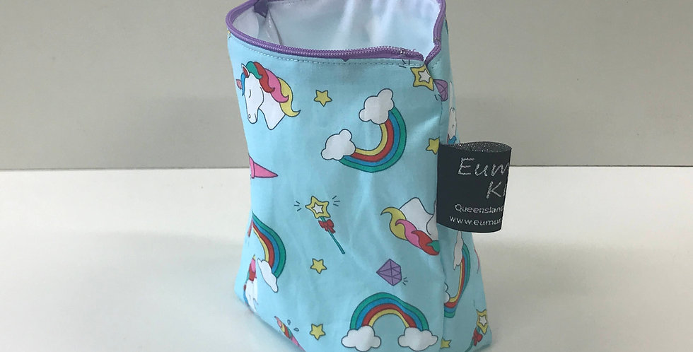 Reusable Food Safe Lunch / Snack Bags - Unicorns Light Blue - White Lining