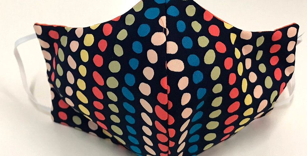 Face Mask - 4 Layers - Navy Coloured Spots - Orange
