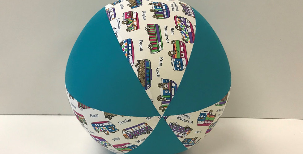 Balloon Ball - Combi Vans on White with Teal Panels