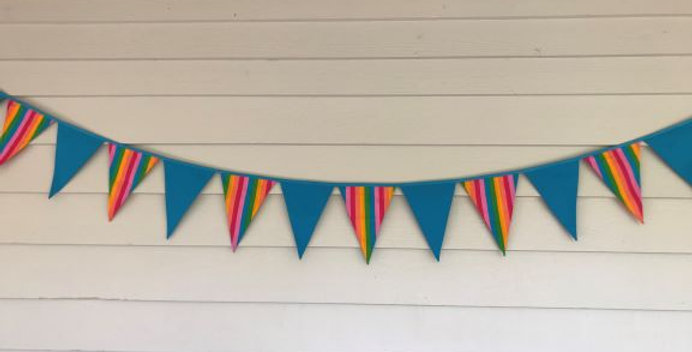 Bunting - Aqua - Rainbow Stripes