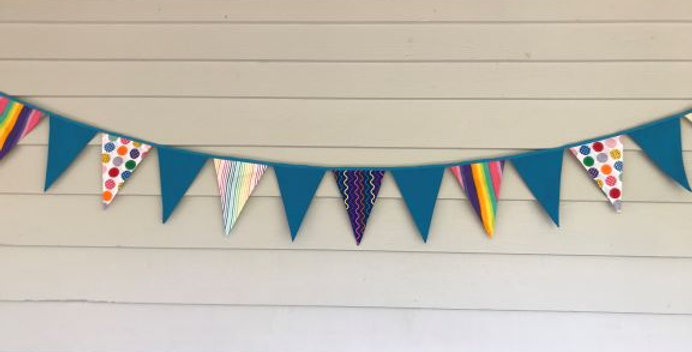 Bunting - Aqua - Rainbow Stripes and Dots