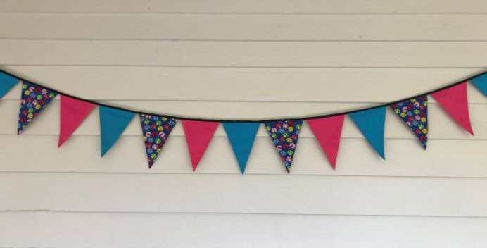 Bunting - Pink Aqua Panels - Blue Multi Coloured Bugs