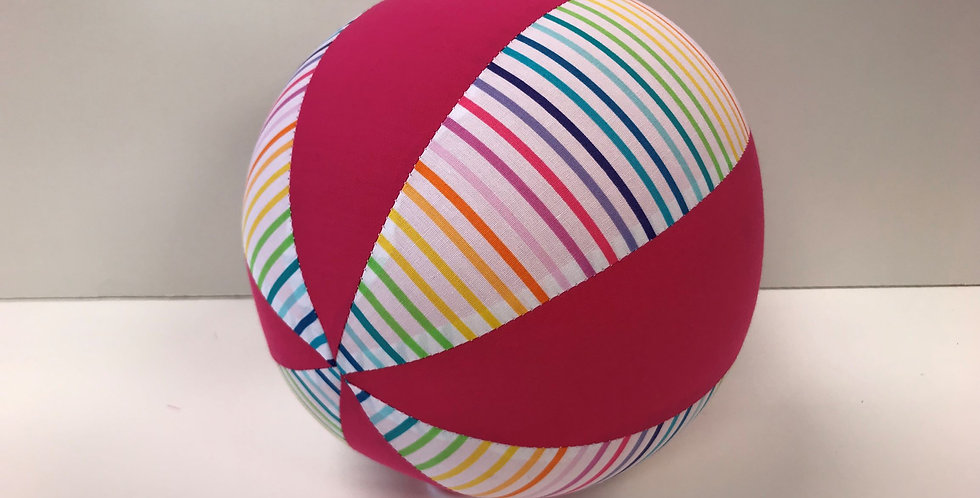 Balloon Ball Medium - Rainbow Stripes with Hot Pink Panels