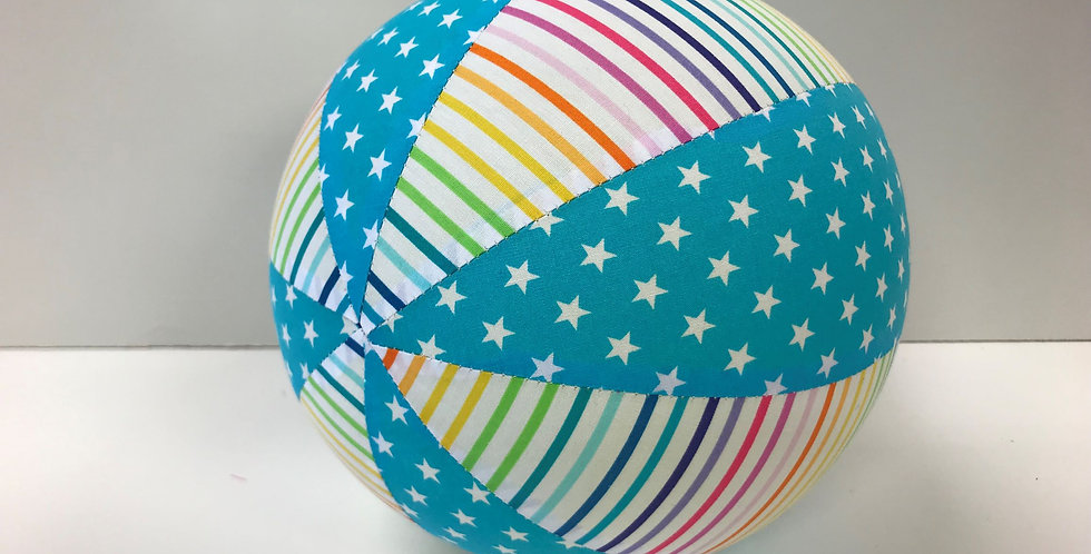 Balloon Ball Medium - Rainbow Stripes with Aqua White Stars
