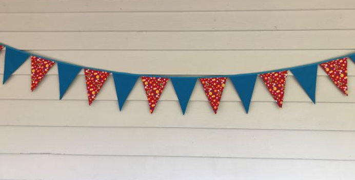 Bunting - Aqua - Red with Multi Coloured Dots