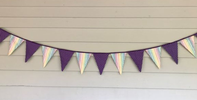 Bunting - Purple White Stars with Rainbow Stripes