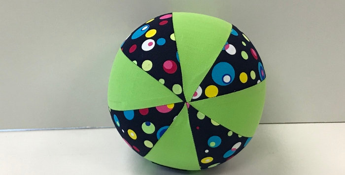 Balloon Ball Small - Coloured Dots on Blue with Lime Green Panels