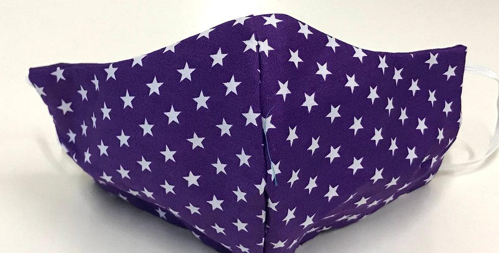 Face Mask - 4 Layers - Purple White Stars - Purple