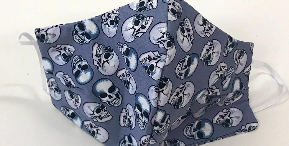 Face Mask - 4 Layers - Grey Blue Skulls