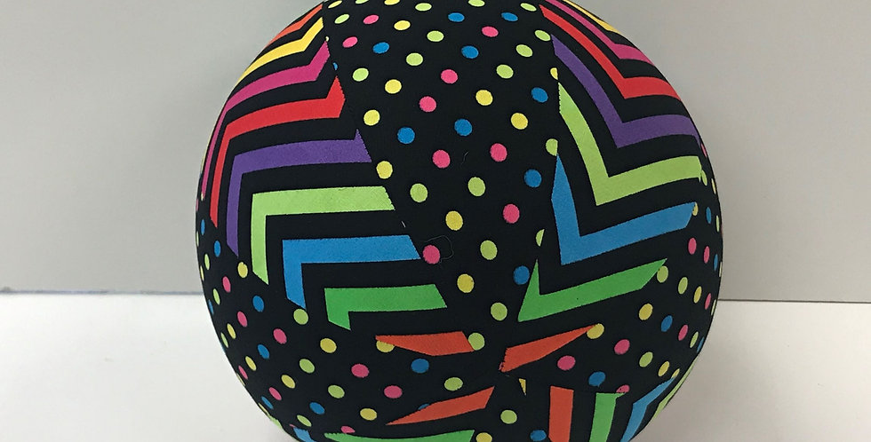 Balloon Ball Medium - Black with Coloured Chevrons and Dots