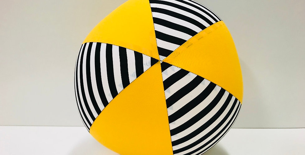 Balloon Ball - Black White Stripes Yellow Panels