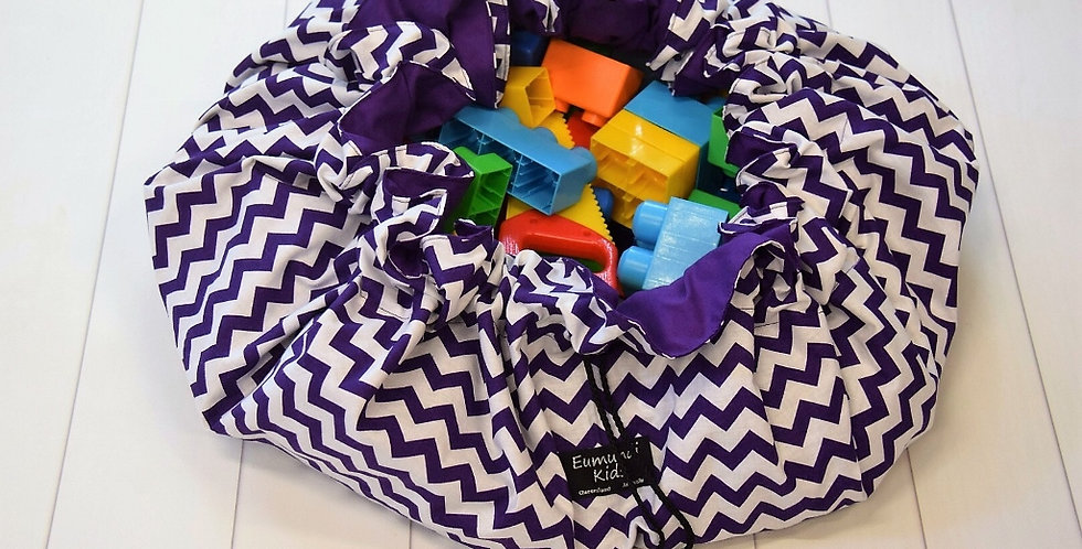 Toy Sacks Large - Purple with White Chevrons with Purple Lining