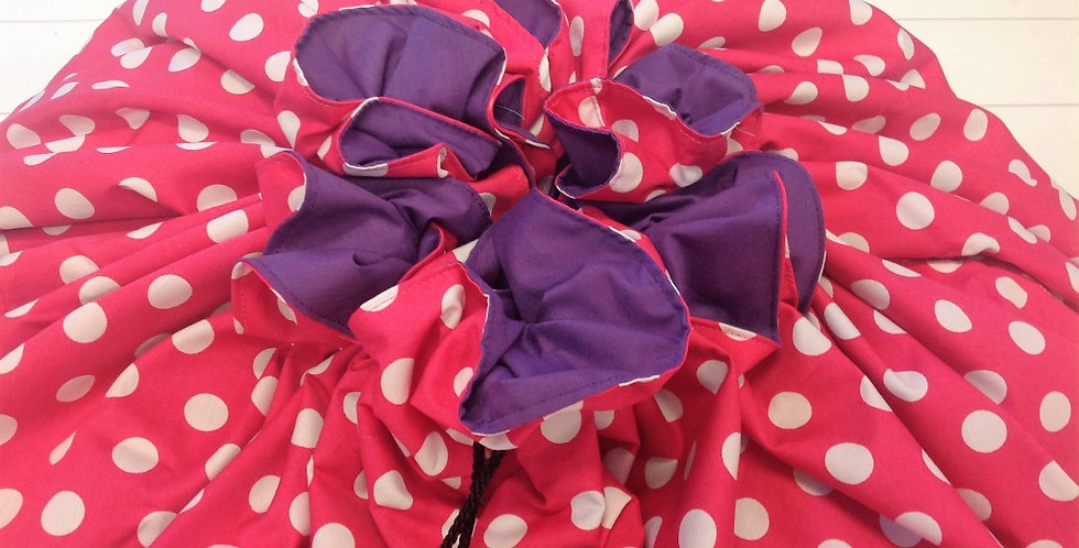Toy Sack Jumbo - Pink with White Dots and Purple Lining
