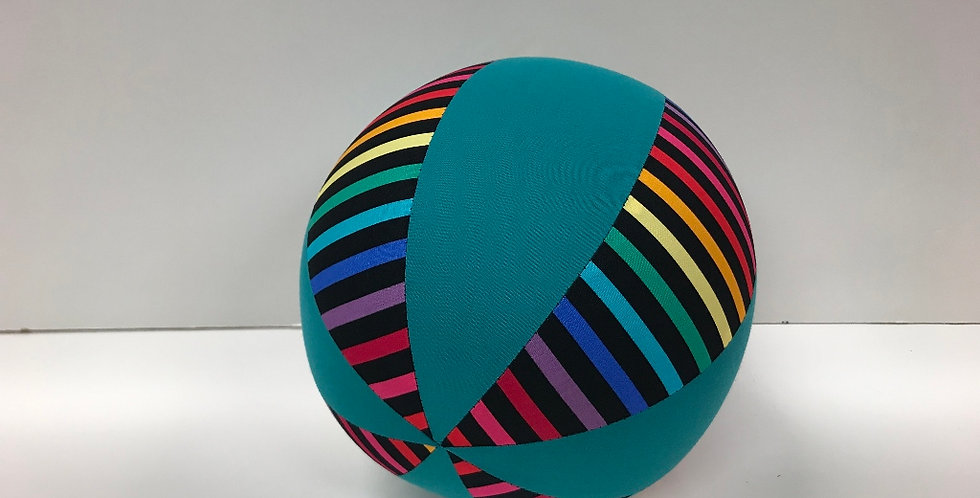 Balloon Ball Medium - Rainbows on Black with Teal Panels