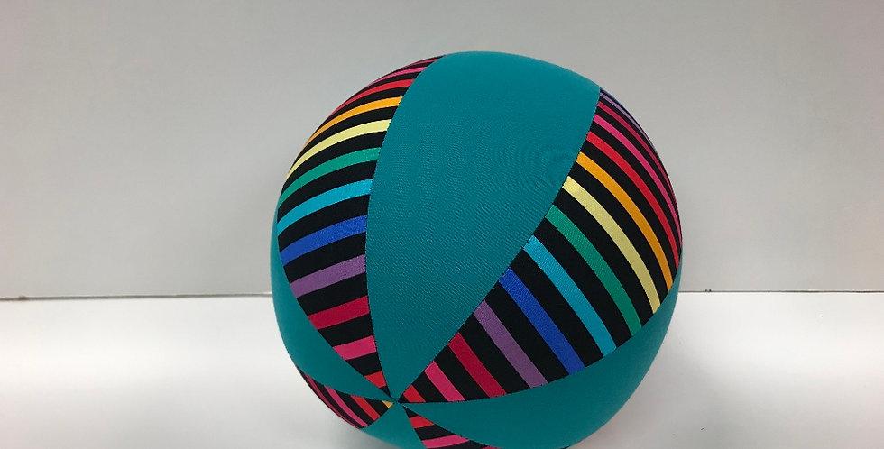 Balloon Ball Medium - Rainbows on Black with Teal Panels