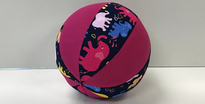 Balloon Ball Small - Elephants on Navy with Hot Pink Panels
