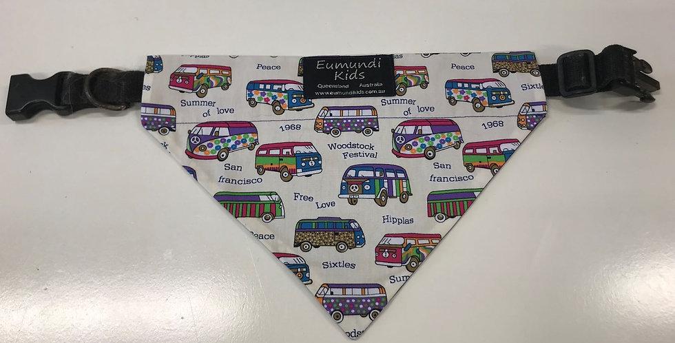 Dog Bandana Medium - Combi Vans with Purple Backing