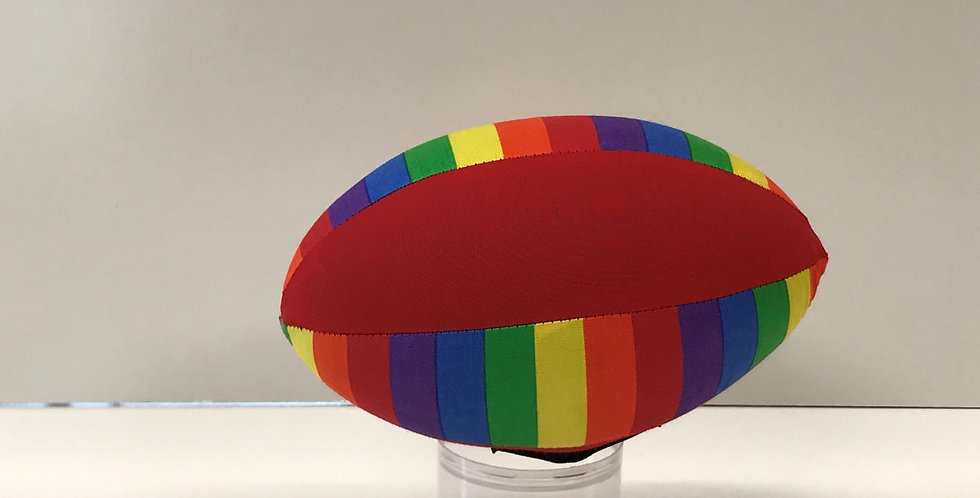 Balloon Football Small - Bright Rainbow Stripes with Red Panels