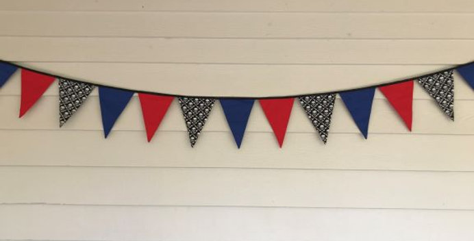 Bunting - Blue Red Panels with Black White Skulls