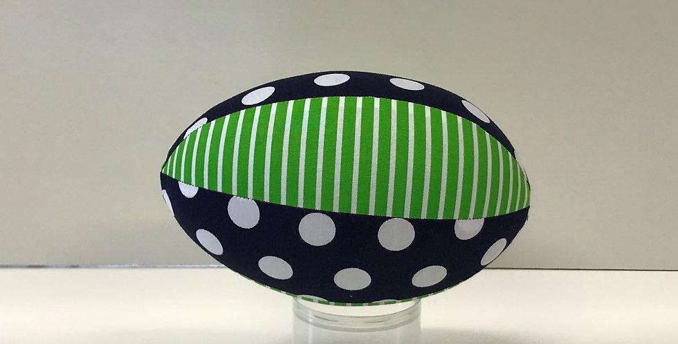 Balloon Football Small - Navy White Dots - Green White Stripes
